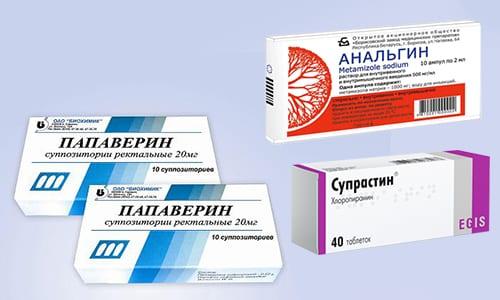 Для купирования лихорадочного синдрома используют смесь, включающую Анальгин, Папаверин и Супрастин
