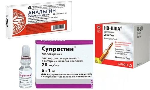 Если снизить температуру стандартными средствами не удается, применяются Анальгин, Но-шпа и Супрастин