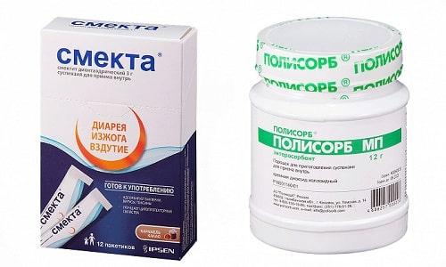 При кишечных инфекциях, различных отравлениях, расстройствах пищеварения врачи назначают Полисорб или Смекту